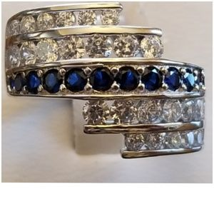 Jewelry - Huge 3ct Blue & White Sapphires Pave Ring 8